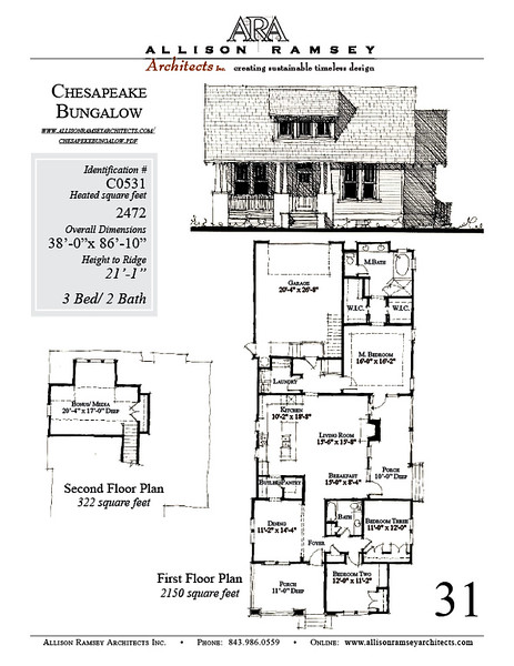 This plan is 2472 Heated Square Feet, 3 Bedrooms & 2 Bathrooms. Carolina Inspirations Book III, Page 31, C0531.