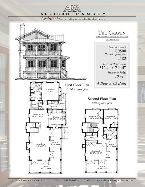 This plan is 2182 Heated Square Feet, 4 Bedrooms and 3 1/2 Bathrooms. Carolina Inspirations, Book III, Pages 8-9, C0508.