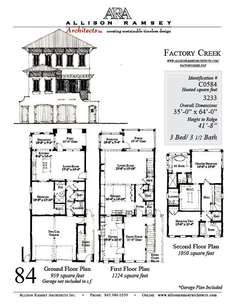 The Factory Creek Plan by Allison Ramsey Architects built at Factory Creek on Lady's Island, South Carolina. This plan is 3233 Heated Square Feet, 3 bedrooms and 3 1/2 bathrooms. Carolina Inspirations, Book III, Page 84. C0584.