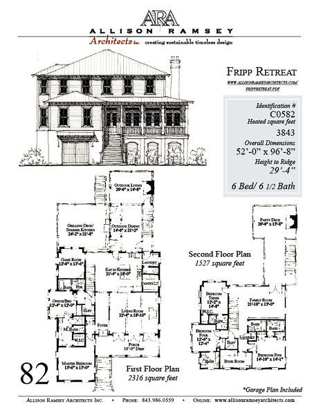 The Fripp Retreat plan by Allison Ramsey Architects is 3843 heated square feet, 6 bedrooms and 6 1/2 bathrooms. Carolina Inspirations Book III, page 82, C0582.