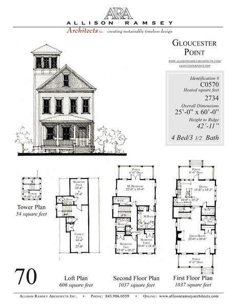 This plan is 2734 Heated Square Feet, 4 Bedrooms and 3 1/2 Bathrooms. Carolina Inspirations, Book III, Page 70, C0570.