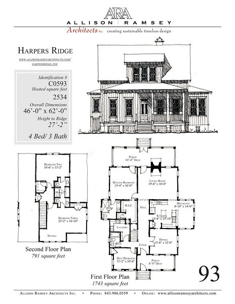 This plan is 2534 Heated Square Feet, 4 Bedrooms and 3 1/2 Bathrooms. Carolina Inspirations, Book III, Page 93, C0593.