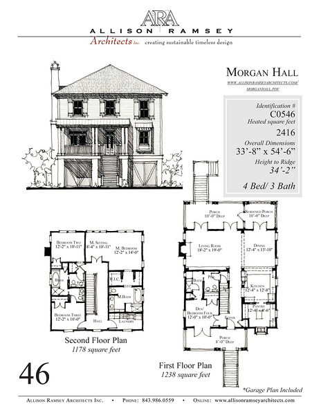 This plan is 2416 Heated Square Feet, 4 Bedrooms and 3 Bathrooms. Carolina Inspirations, Book III, Page 46, C0546.