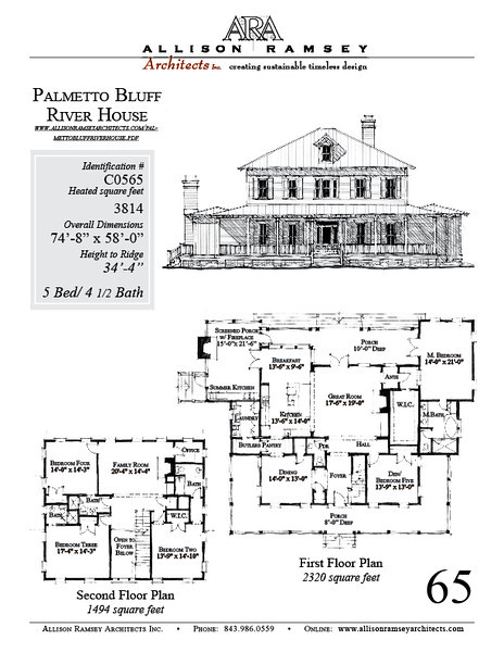 The Palmetto Bluff by Allison Ramsey Architects. This plan is 3814 Heated Square Feet, 5 Bedrooms and 4 1/2 Bathroom. Carolina Inspirations, Book III, page 65, C0565.