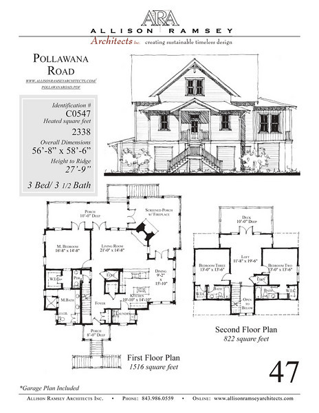 This plan is 2338 Heated Square Feet, 3 Bedrooms and 3 1/2 Bathooms. Carolina Inspirations, Book III, Page 47, C0547.