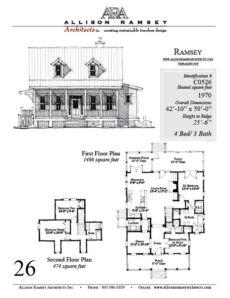 The Ramsey plan by Allison Ramsey Architects is 1970 Heated Square Feet, 4 Bedrooms and 3 Bathrooms. Carolina Inspirations, Book III, Page 26, C0526.