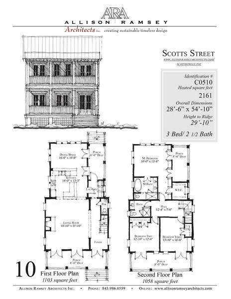 This plan is 2161 Heated Square Feet, 3 Bedrooms and 2 1/2 Bathrooms. Carolina Inspirations, Book III, Page 10, C0510.