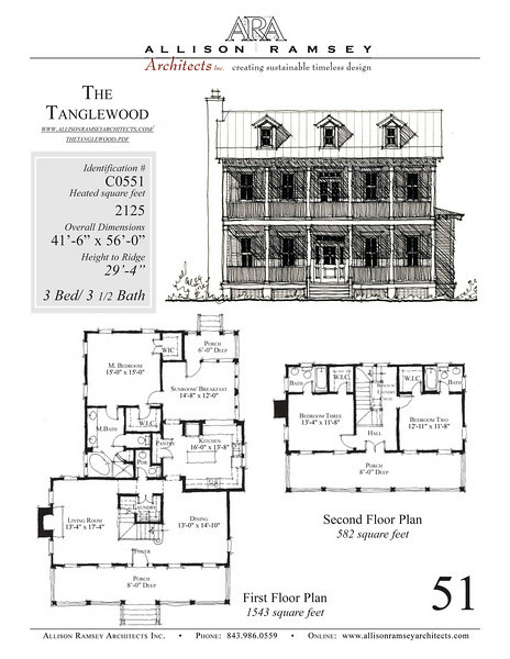 This plan is 2125 Heated Square Feet, 3 Bedrooms and 3 1/2 Bathrooms. Carolina Inspirations, Book III, Page 51, C0551.