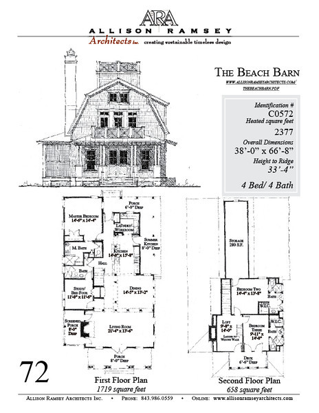 The Beach Barn by Allison Ramsey Architects. This plan is 2377 Heated Square Feet, 4 Bedrooms and 4 Bathroom. Carolina Inspirations, Book III, page 72, C0572.