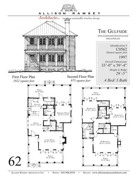 This plan is 1997 Heated Square Feet, 4 Bedrooms and 3 Bathrooms. Carolina Inspirations, Book III, Page 62, C0562.