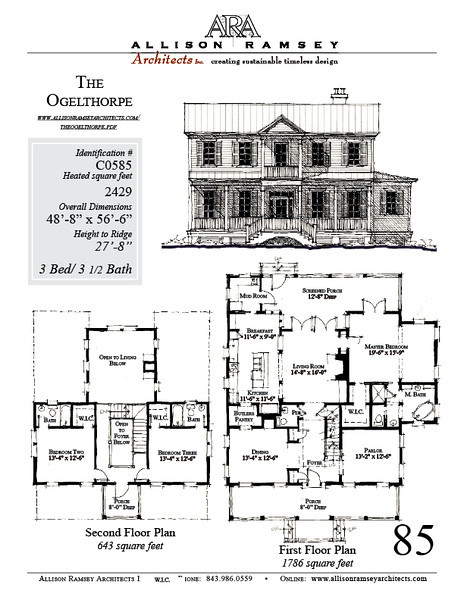 This plan is 2429 Heated Square Feet, 3 Bedrooms and 3 1/2 Bathrooms. Carolina Inspirations, Book III, page 85, C0585.