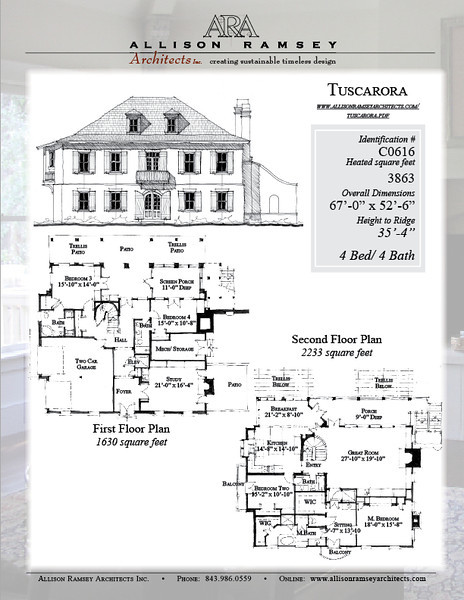 This plan is 3863 Heated Square Feet, 4 Bedrooms and 4 Bathrooms. Carolina Inspirations, Book III, page 116, #C0616.