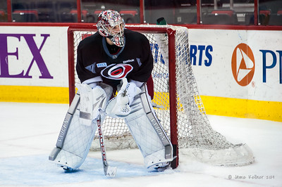 Cam Ward. February 3, 2014. Carolina Hurricanes practice at PNC Arena, Raleigh, NC.  Copyright © 2014 Jamie Kellner. All Rights Reserved.