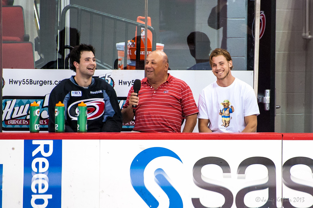 July 19, 2013.  Chuck Kaiton interviews Ryan Murphy and Elias Lindholm. Carolina Hurricanes Prospect Development Camp, PNC Arena, Raleigh, NC.  © 2013 Jamie Kellner. All Rights Reserved.