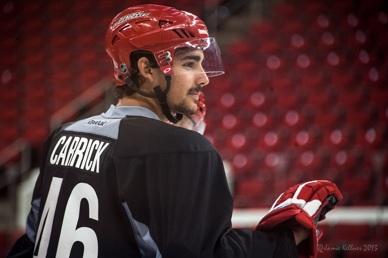 Trevor Carrick. July 16, 2013.  Carolina Hurricanes Prospect Development Camp, PNC Arena, Raleigh, NC.  © 2013 Jamie Kellner. All Rights Reserved.