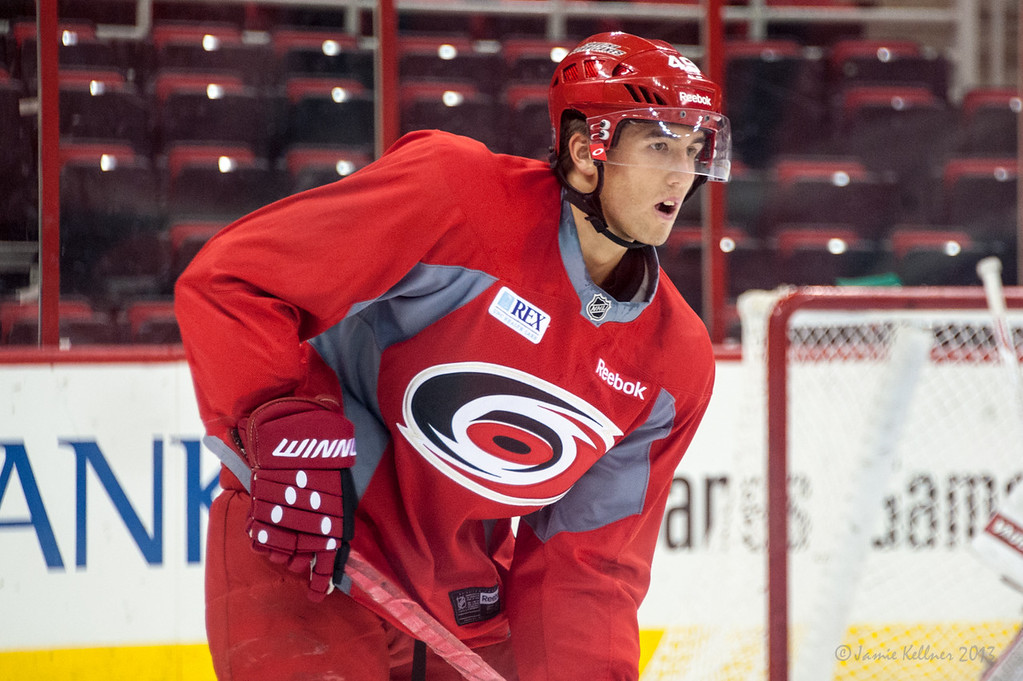 Victor Rask. July 16, 2013.  Carolina Hurricanes Prospect Development Camp, PNC Arena, Raleigh, NC.  © 2013 Jamie Kellner. All Rights Reserved.