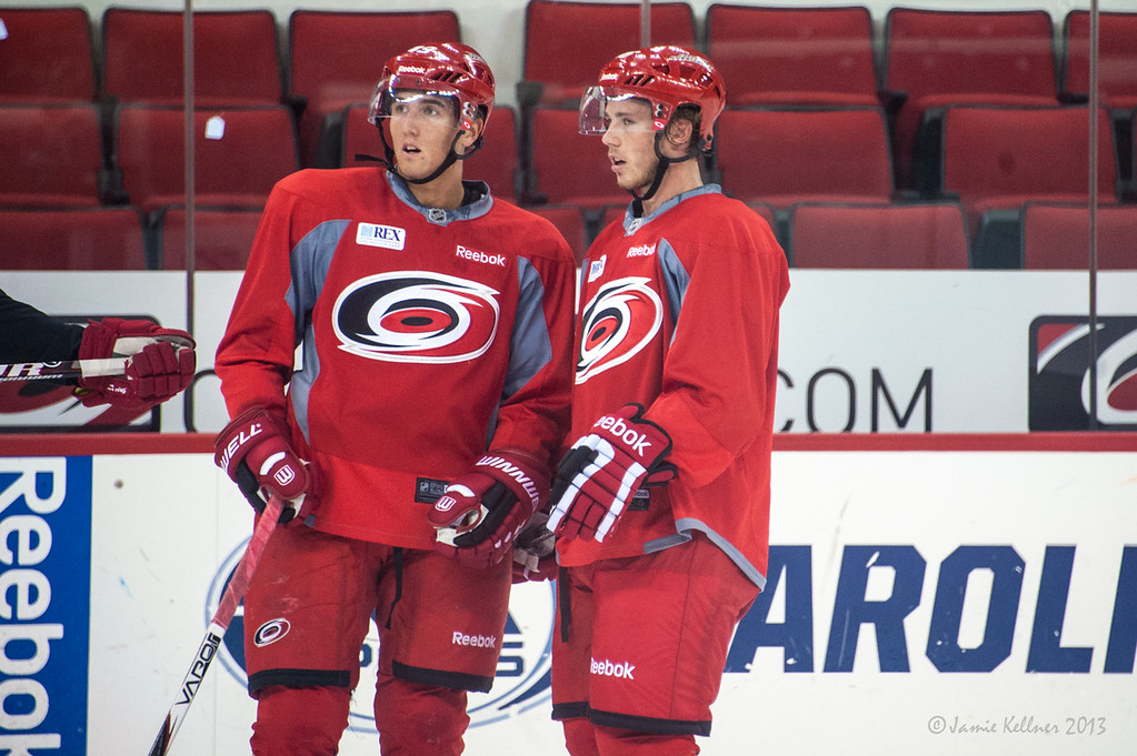 Victor Rask and Elias Lindholm. July 16, 2013.  Carolina Hurricanes Prospect Development Camp, PNC Arena, Raleigh, NC.  © 2013 Jamie Kellner. All Rights Reserved.