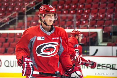 Erik Karlsson. July 16, 2013.  Carolina Hurricanes Prospect Development Camp, PNC Arena, Raleigh, NC.  © 2013 Jamie Kellner. All Rights Reserved.