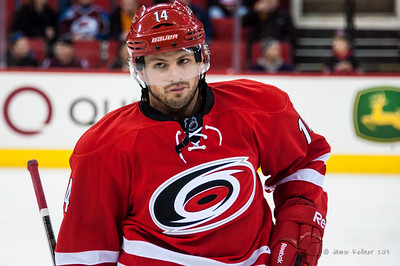 Nathan Gerbe. November 12, 2013. Carolina Hurricanes vs. Colorado Avalanche, PNC Arena, Raleigh, NC.  Copyright © 2013 Jamie Kellner. All rights reserved.