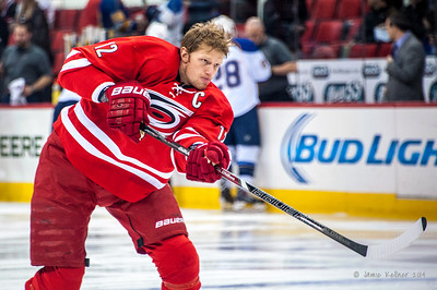 Eric Staal. January 31, 2014. Carolina Hurricanes vs. St. Louis Blues, PNC Arena, Raleigh, NC. Copyright © 2014 Jamie Kellner. All rights reserved.