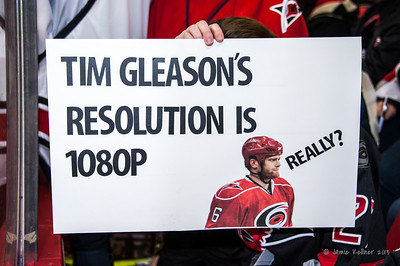 The last Tim Gleason sign :( December 31, 2013. Carolina Hurricanes vs. Montreal Canadiens, PNC Arena, Raleigh, NC.  Copyright © 2013 Jamie Kellner. All rights reserved.