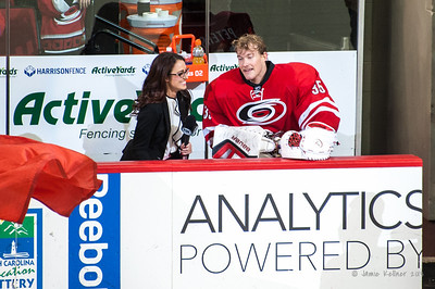 Justin Peters post-game interview with Chantel McCabe. November 15, 2013.  Carolina Hurricanes vs Anaheim Ducks, PNC Arena, Raleigh, NC.  Copyright © 2013 Jamie Kellner.  All rights reserved.
