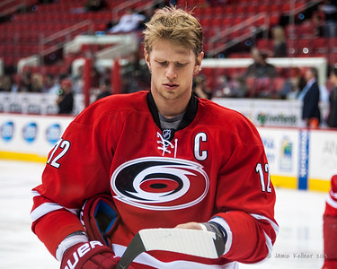 Eric Staal. November 15, 2013.  Carolina Hurricanes vs Anaheim Ducks, PNC Arena, Raleigh, NC.  Copyright © 2013 Jamie Kellner.  All rights reserved.