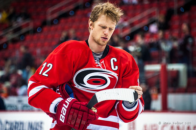 Eric Staal. February 8, 2014. Carolina Hurricanes vs. Montreal Canadiens, PNC Arena, Raleigh, NC.  Copyright © 2014 Jamie Kellner. All Rights Reserved.