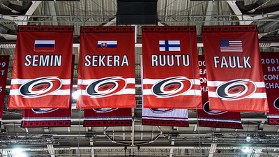 Olympic banners. February 8, 2014. Carolina Hurricanes vs. Montreal Canadiens, PNC Arena, Raleigh, NC.  Copyright © 2014 Jamie Kellner. All Rights Reserved.