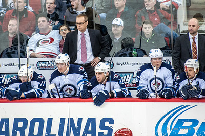 Paul Maurice behind the Jets bench. February 4, 2014. Carolina Hurricanes vs. Winnipeg Jets, PNC Arena, Raleigh, NC.  Copyright © 2014 Jamie Kellner. All Rights Reserved.