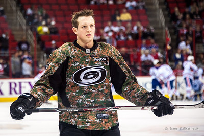 Drayson Bowman. March 16, 2014. Carolina Hurricanes vs. Edmonton Oilers, PNC Arena, Raleigh, NC. Copyright © 2014 Jamie Kellner. All Rights Reserved.