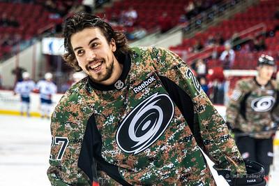 Justin Faulk. March 16, 2014. Carolina Hurricanes vs. Edmonton Oilers, PNC Arena, Raleigh, NC. Copyright © 2014 Jamie Kellner. All Rights Reserved.