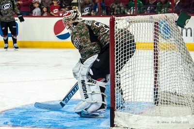 Anton Khudobin. March 16, 2014. Carolina Hurricanes vs. Edmonton Oilers, PNC Arena, Raleigh, NC. Copyright © 2014 Jamie Kellner. All Rights Reserved.
