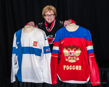 Posing with the Olympic jerseys. February 7, 2014. Carolina Hurricanes vs. Florida Panthers, PNC Arena, Raleigh, NC. Copyright © 2014 Jamie Kellner. All rights reserved.
