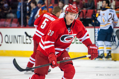 Riley Nash. March 13, 2014. Carolina Hurricanes vs. Buffalo Sabres, PNC Arena, Raleigh, NC. Copyright © 2014 Jamie Kellner. All Rights Reserved.