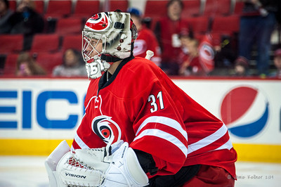Anton Khudobin. January 25, 2014. Carolina Hurricanes vs. Ottawa Senators, PNC Arena, Raleigh, NC. Copyright © 2014 Jamie Kellner. All rights reserved.