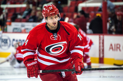Nathan Gerbe. January 25, 2014. Carolina Hurricanes vs. Ottawa Senators, PNC Arena, Raleigh, NC. Copyright © 2014 Jamie Kellner. All rights reserved.