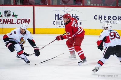 Drayson Bowman. November 24, 2013.  Carolina Hurricanes vs. Ottawa Senators, PNC Arena, Raleigh, NC. Copyright © 2013 Jamie Kellner. All rights reserved.