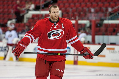 Tim Gleason. September 18, 2013. Carolina Hurricanes vs. Columbus Blue Jackets, PNC Arena, Raleigh, NC.  Copyright © 2013 Jamie Kellner. All rights reserved.