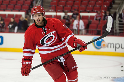 Nathan Gerbe. September 18, 2013. Carolina Hurricanes vs. Columbus Blue Jackets, PNC Arena, Raleigh, NC.  Copyright © 2013 Jamie Kellner. All rights reserved.