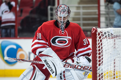 Cam Ward. September 27, 2013. Carolina Hurricanes vs. Buffalo Sabres (preseason), PNC Arena, Raleigh, NC.  Copyright © 2013 Jamie Kellner. All rights reserved.