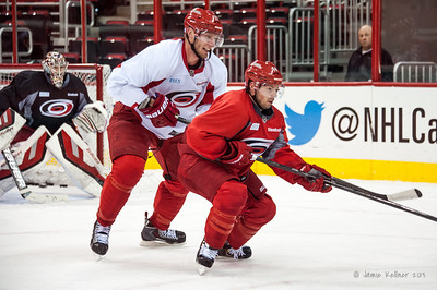 Jordan Staal and Nathan Gerbe. October 27, 2013. Carolina Hurricanes practice at PNC Arena, Raleigh, NC.  Copyright © 2013 Jamie Kellner. All rights reserved.