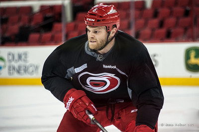 Tim Gleason. October 27, 2013. Carolina Hurricanes practice at PNC Arena, Raleigh, NC.  Copyright © 2013 Jamie Kellner. All rights reserved.