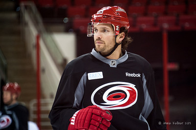 Ron Hainsey. October 27, 2013. Carolina Hurricanes practice at PNC Arena, Raleigh, NC.  Copyright © 2013 Jamie Kellner. All rights reserved.