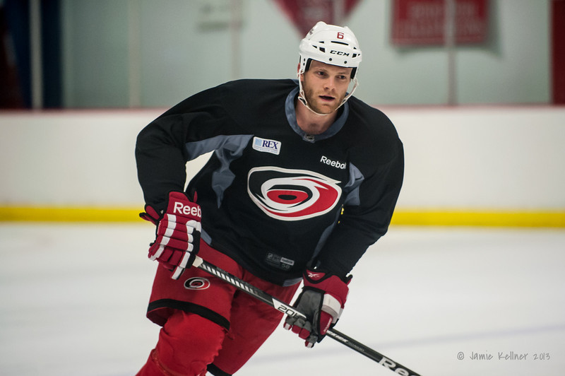 Tim Gleason. August 22, 2013. Carolina Hurricanes preseason skate at Raleigh Center Ice, Raleigh, NC.  Copyright © 2013 Jamie Kellner. All rights reserved.