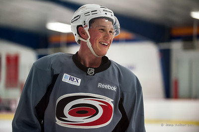 Jeff Skinner. October 12, 2013.  Carolina Hurricanes practice at Raleigh Center Ice, Raleigh, NC.  Copyright © 2013 Jamie Kellner. All rights reserved.