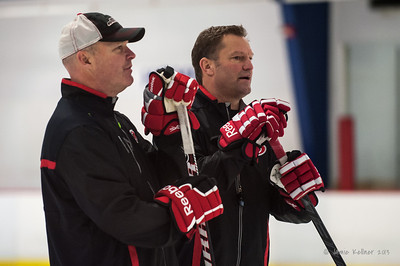 John MacLean and Kirk Muller. October 12, 2013.  Carolina Hurricanes practice at Raleigh Center Ice, Raleigh, NC.  Copyright © 2013 Jamie Kellner. All rights reserved.