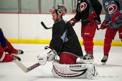Cam Ward. October 12, 2013.  Carolina Hurricanes practice at Raleigh Center Ice, Raleigh, NC.  Copyright © 2013 Jamie Kellner. All rights reserved.