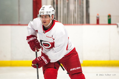 Nathan Gerbe. October 23, 2013. Carolina Hurricanes practice at Raleigh Center Ice, Raleigh, NC.  Copyright © 2013 Jamie Kellner. All rights reserved.
