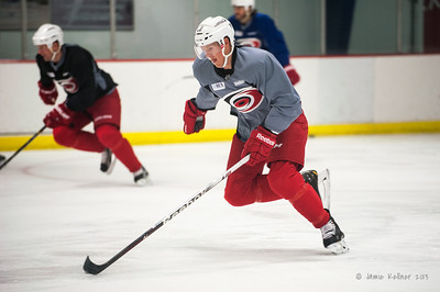 Riley Nash. October 23, 2013. Carolina Hurricanes practice at Raleigh Center Ice, Raleigh, NC.  Copyright © 2013 Jamie Kellner. All rights reserved.